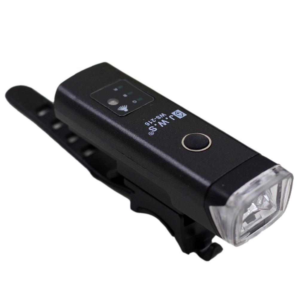 Lanterna Farol Dianteiro para Bicicleta Sensor Noturno WS-216 Led 400 Lúmens Preto Recarregável