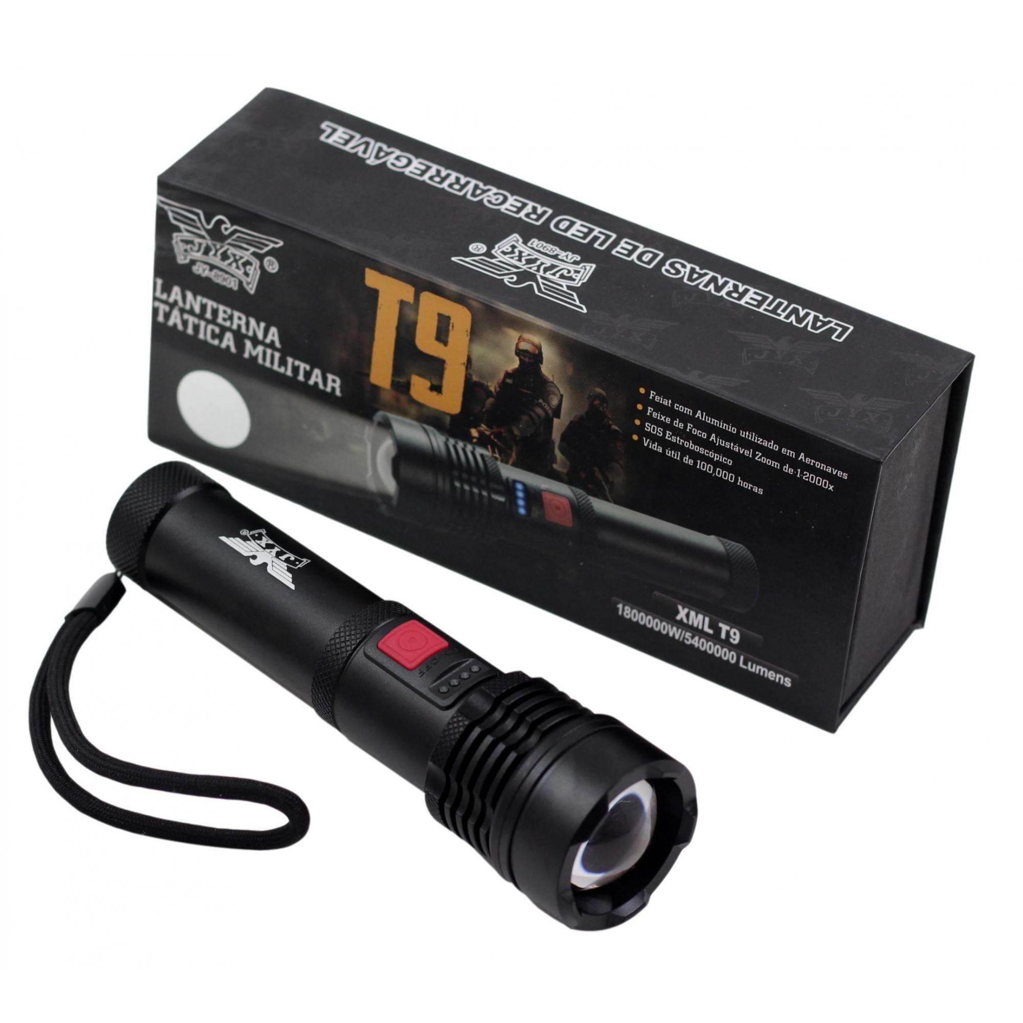 Lanterna Tática Farol JWS JY-8901 com Super Led Cree T9 Bateria Recarregável 1200 lumens
