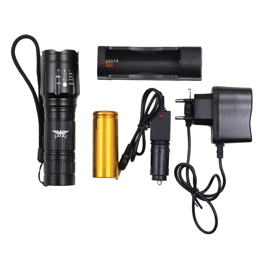 Lanterna Tática Farol JY-8829 com Super Led Cree T6 Bateria Recarregável 1000 lumens