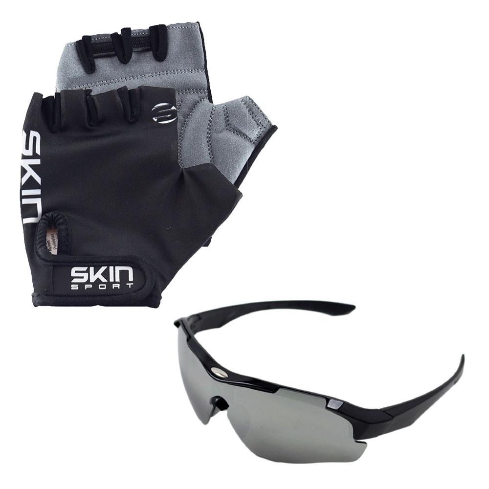 Luva Ciclismo Skin Gel G Preto com Óculos Esportivo New Street UV400 Preto