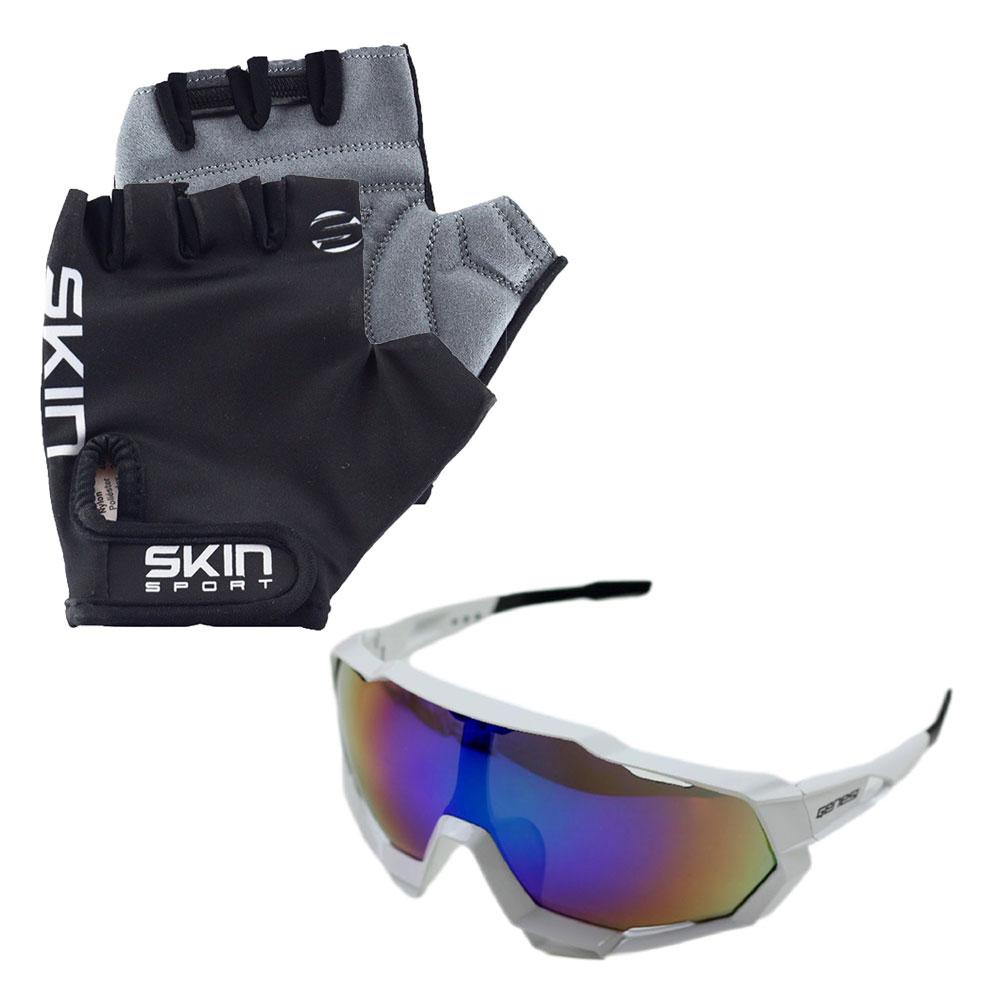 Luva Ciclismo Skin Gel M Preto com Óculos de Proteção Genesi Esportivo UV400