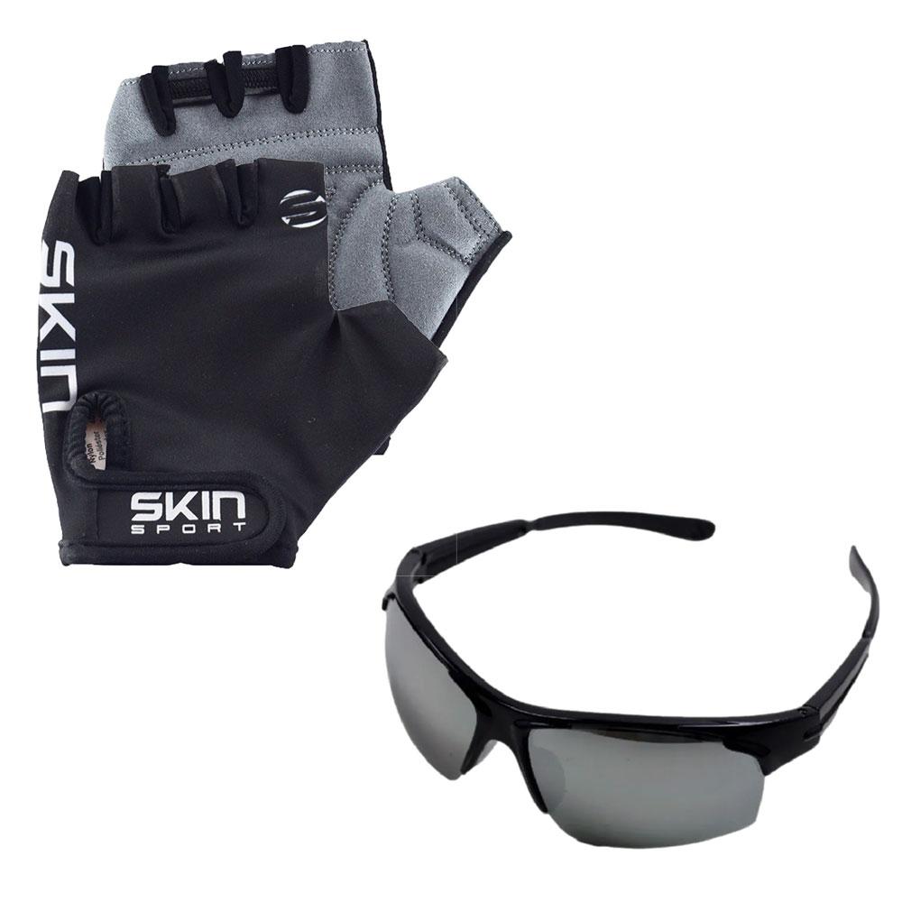Luva Ciclismo Skin Gel M Preto com Óculos Esportivo New Venom UV400 Preto
