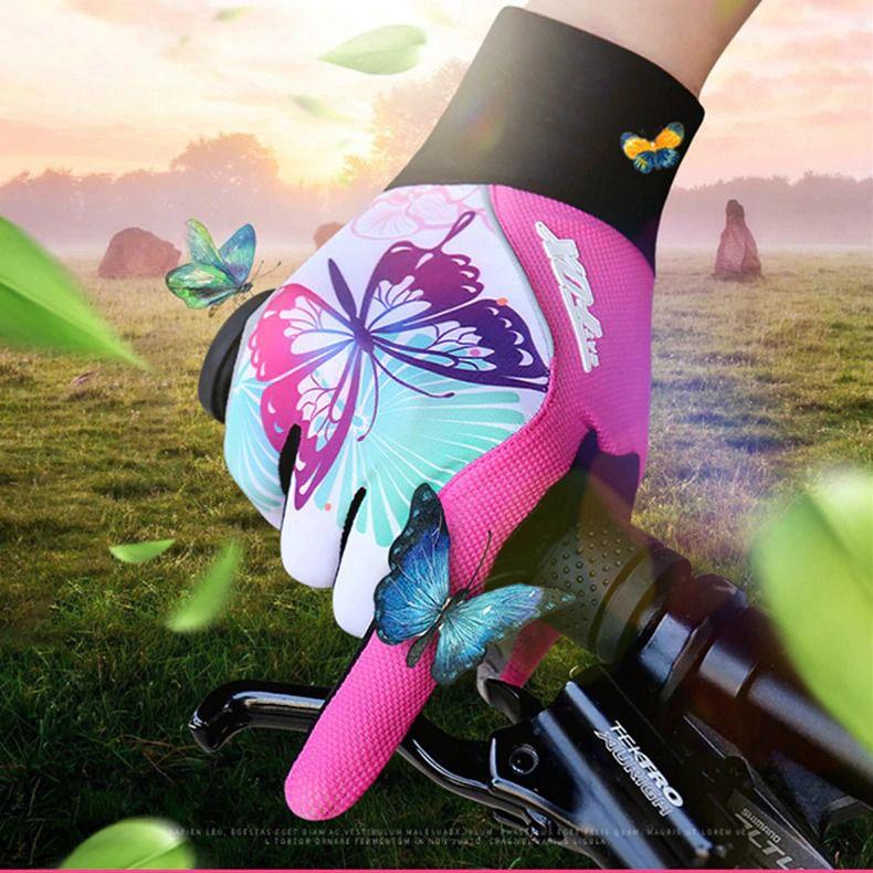 Luvas de Ciclismo Feminina Batfox Borboleta Dedo Fechado Cor Branco com Rosa