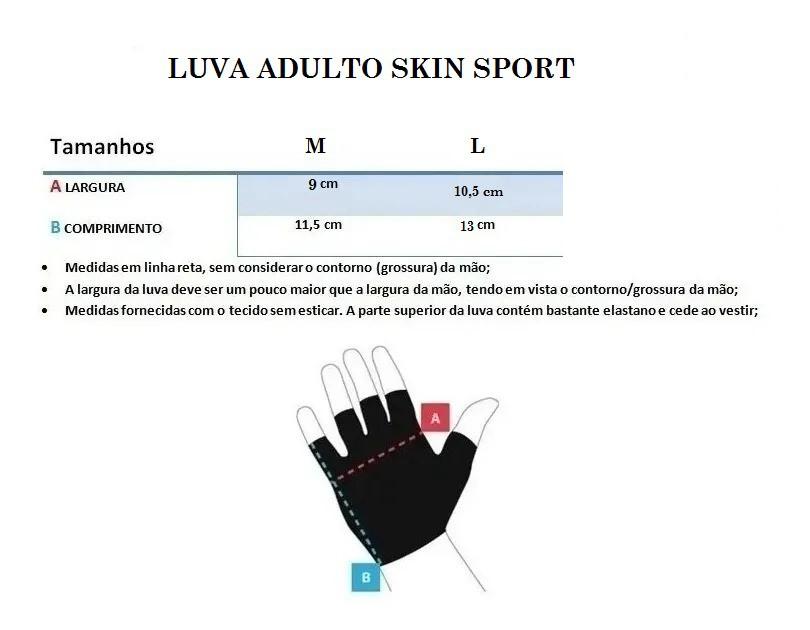 Luvas de Ciclismo Adulto em Gel Skin Dedo Curto Com Refletivo Tam G