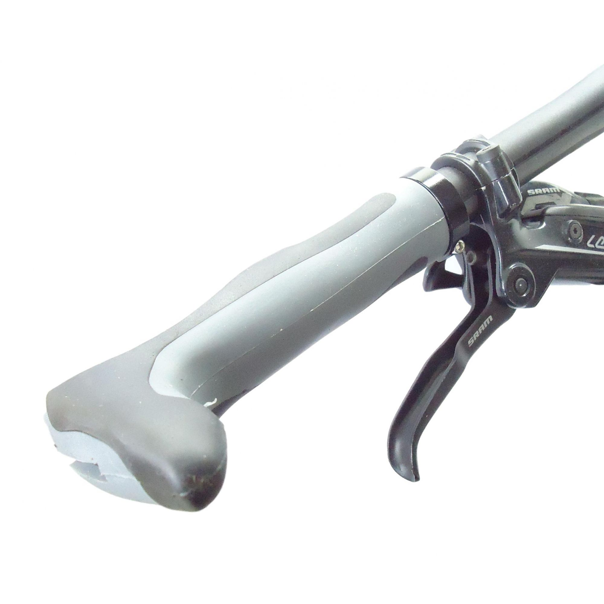 Manoplas Anatômicas para Bicicletas Com Bar End Cor Cinza Trava de Aluminio