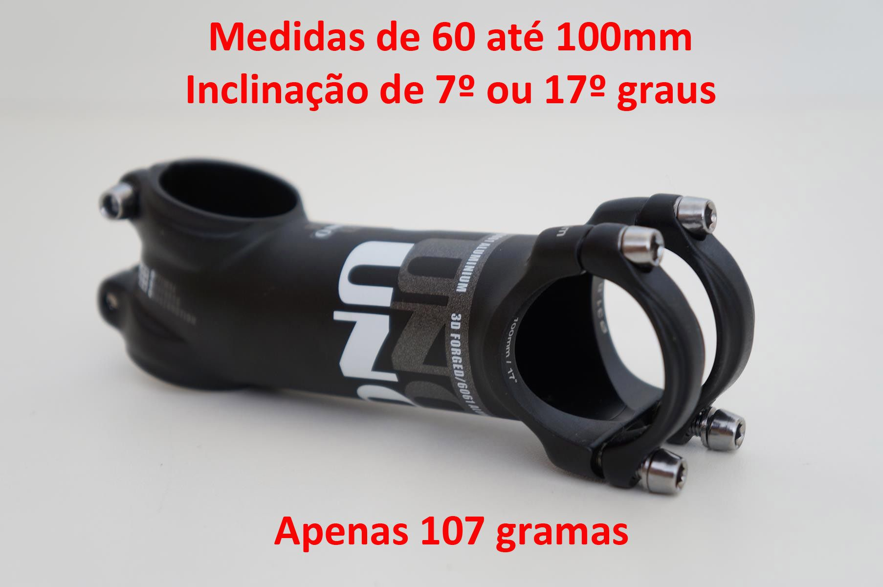 Mesa Bicicleta Uno AS025 31.8mm 7º ou 17º graus Inclinação Preta Super Leve Várias Medidas