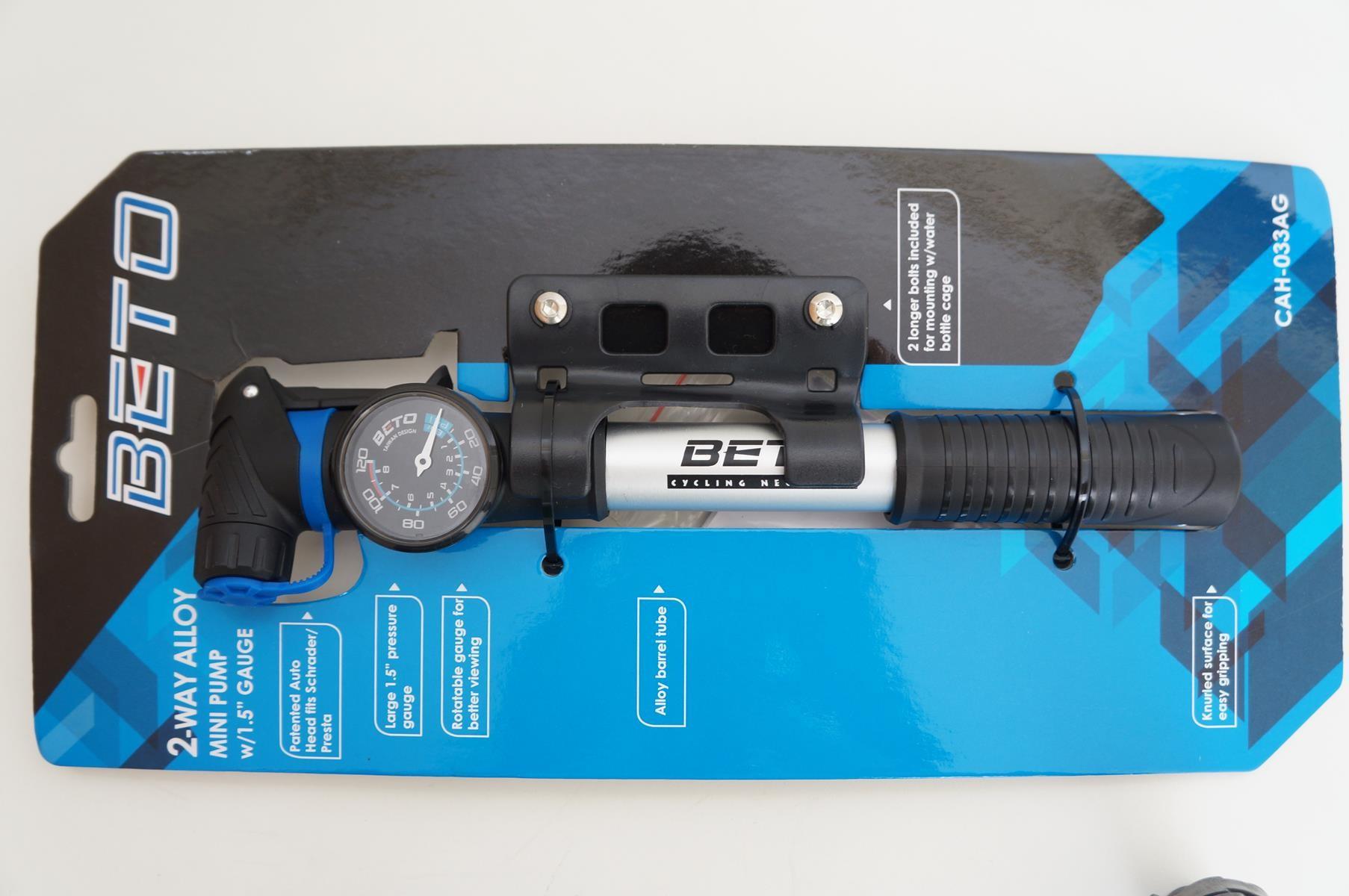 Mini Bomba Bicicleta Beto Cah-033ag Com Manometro Portatil até 100psi Dupla ação