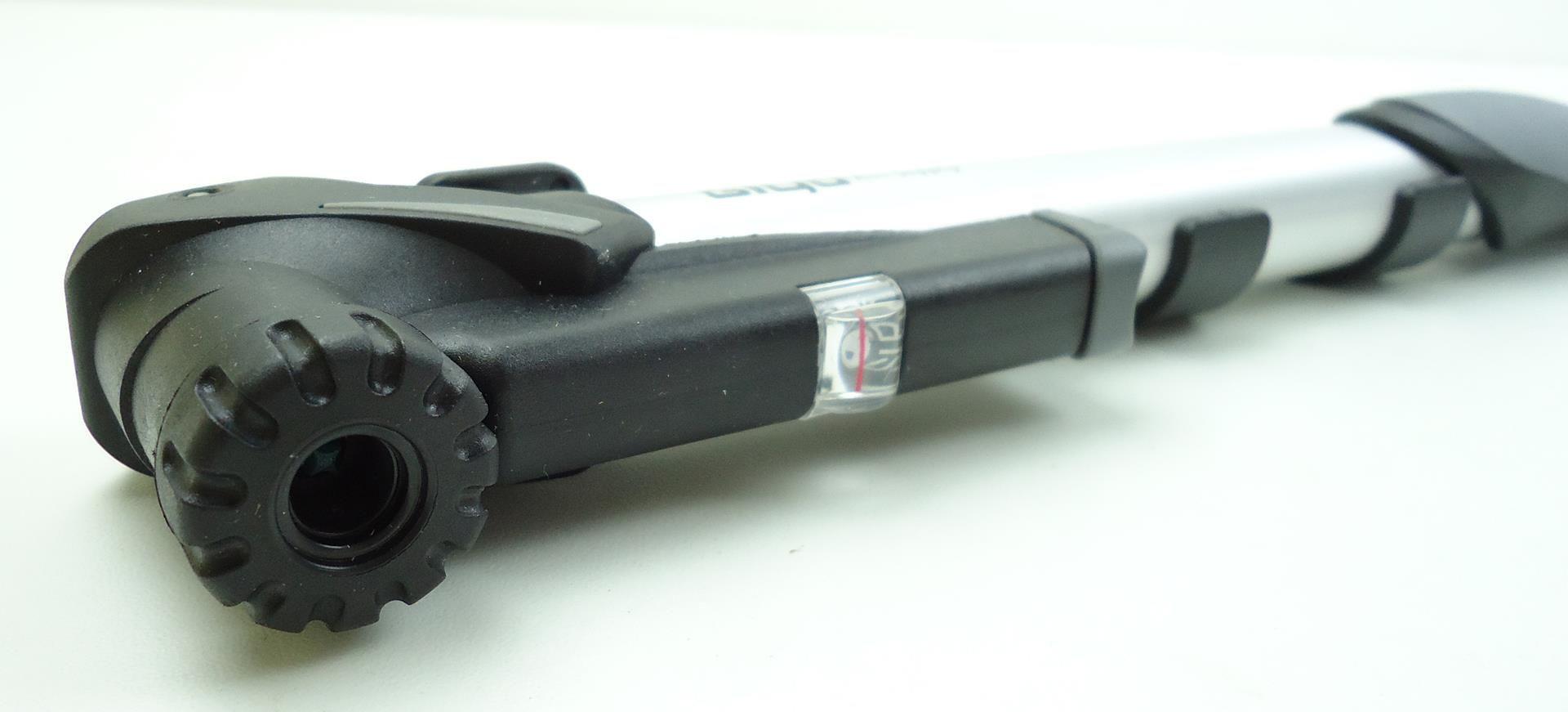 Mini Bomba Bicicleta Giyo GP94 Com Manometro Portatil até 120psi Dupla ação em Aluminio