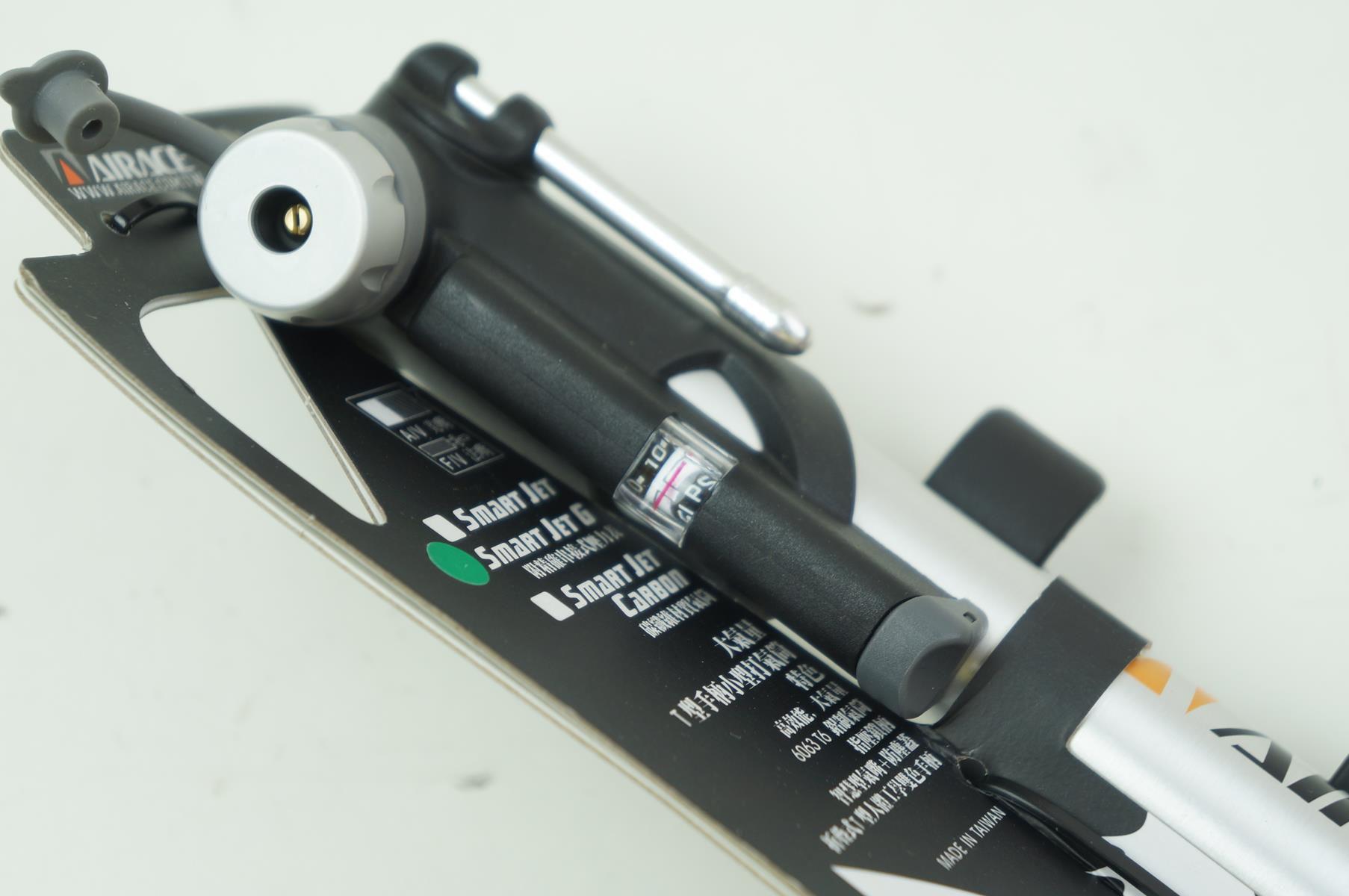 Mini Bomba de ar Bicicleta Smart Jet G Airace AP71C Aluminio Com Manômetro 120 psi