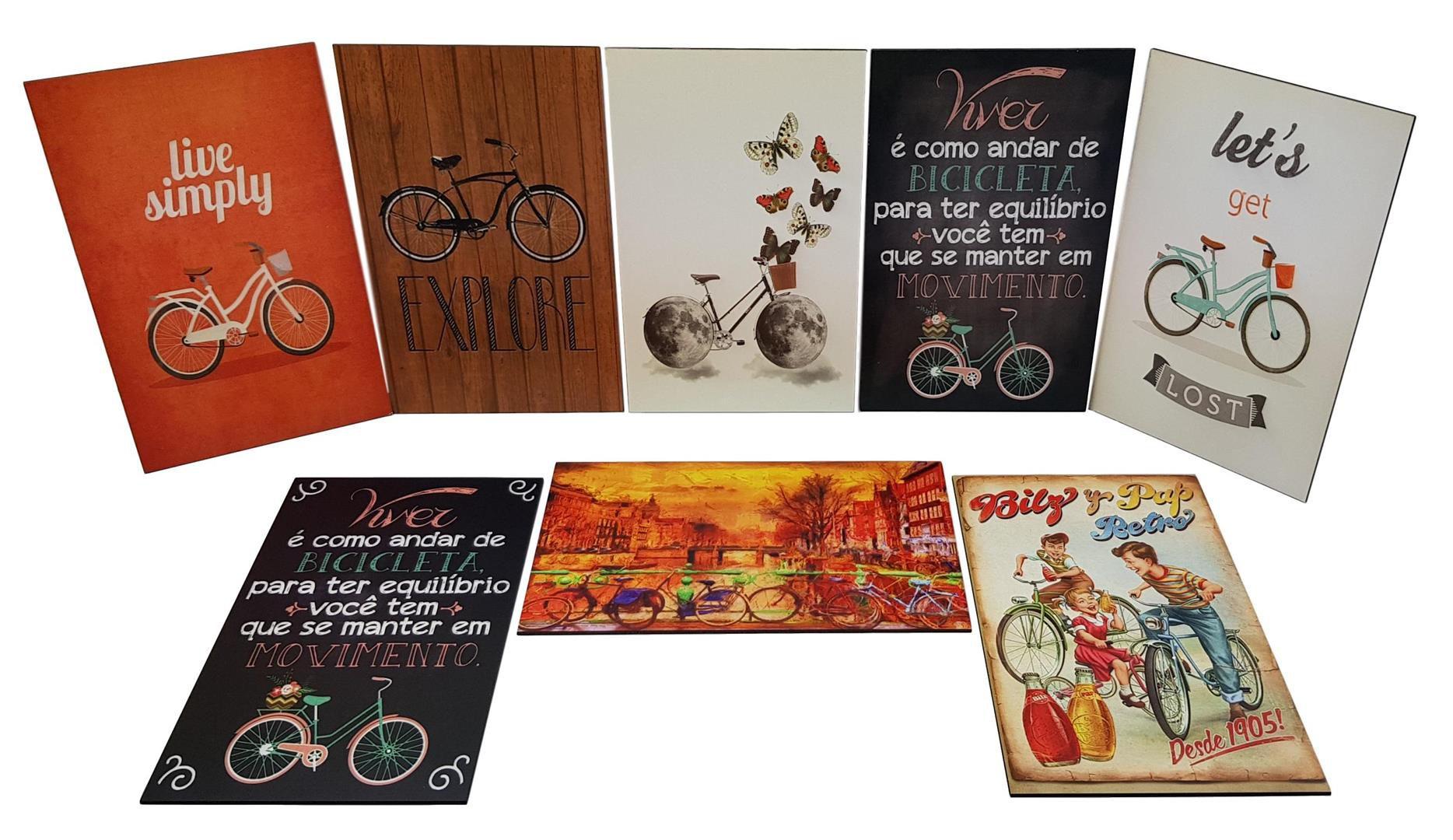 Mini Quadros Placas Decorativas com Frases e Desenhos Bicicleta em MDF 27x17cm