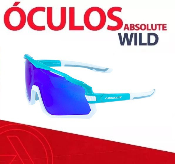 Óculos Ciclismo Absolute Wild Branco Lente Azul 400uv Polarizado Bike