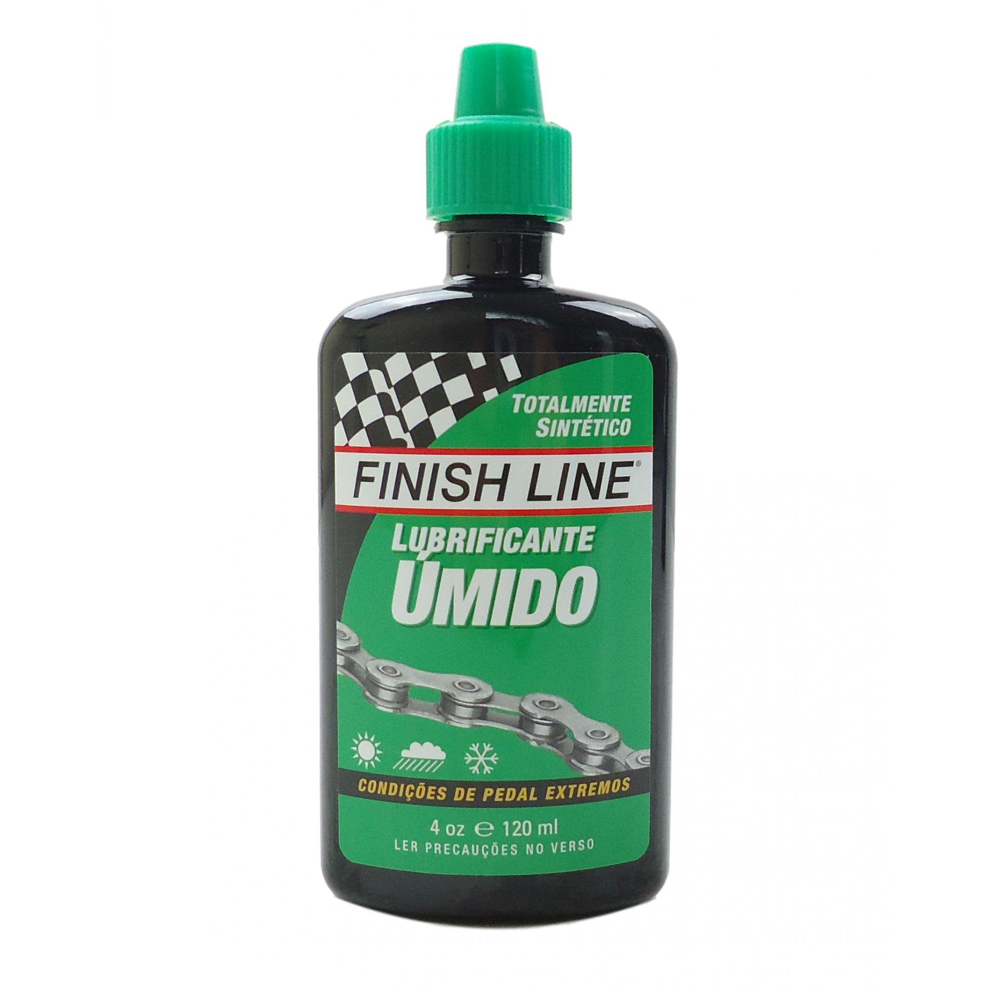 Óleo Lubrificante de Corrente Finish Line Cross Country Úmido Wet 120ml Verde Ideal Para Lama Chuva Barro