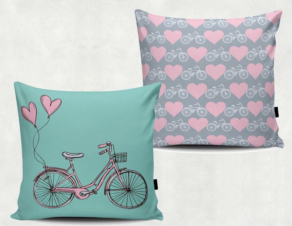 Par de Almofadas Decorativas com Desenhos de Bicicleta Várias Cores