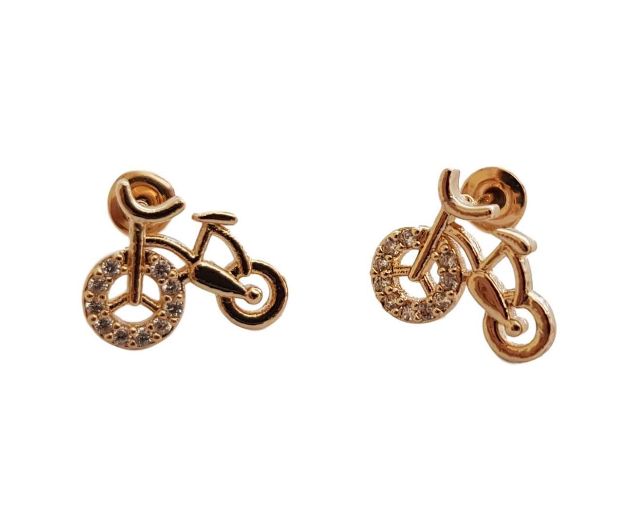 Par de Brincos de Bicicleta Folheado à Ouro 18k Cravejados com Zirconia