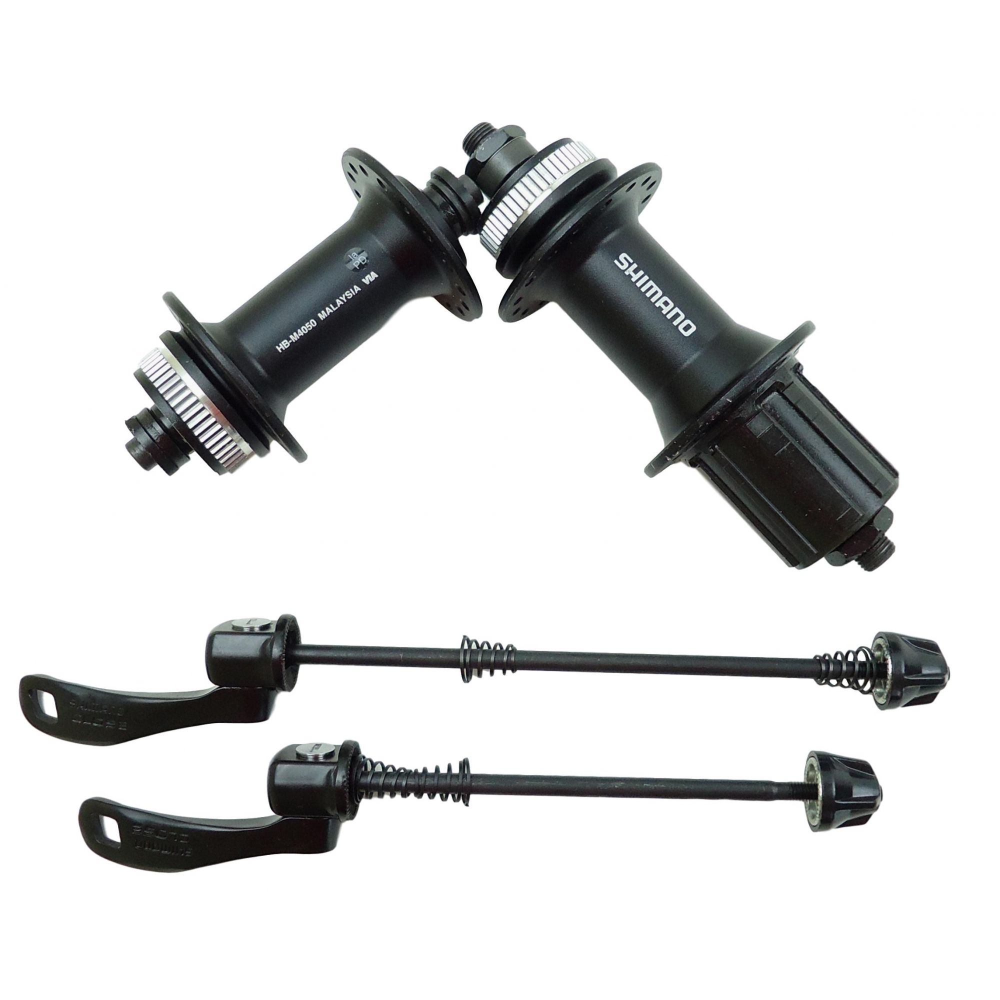 Par de Cubos Shimano Alivio M4050 32 Furos Disco Center Lock com Blocagem