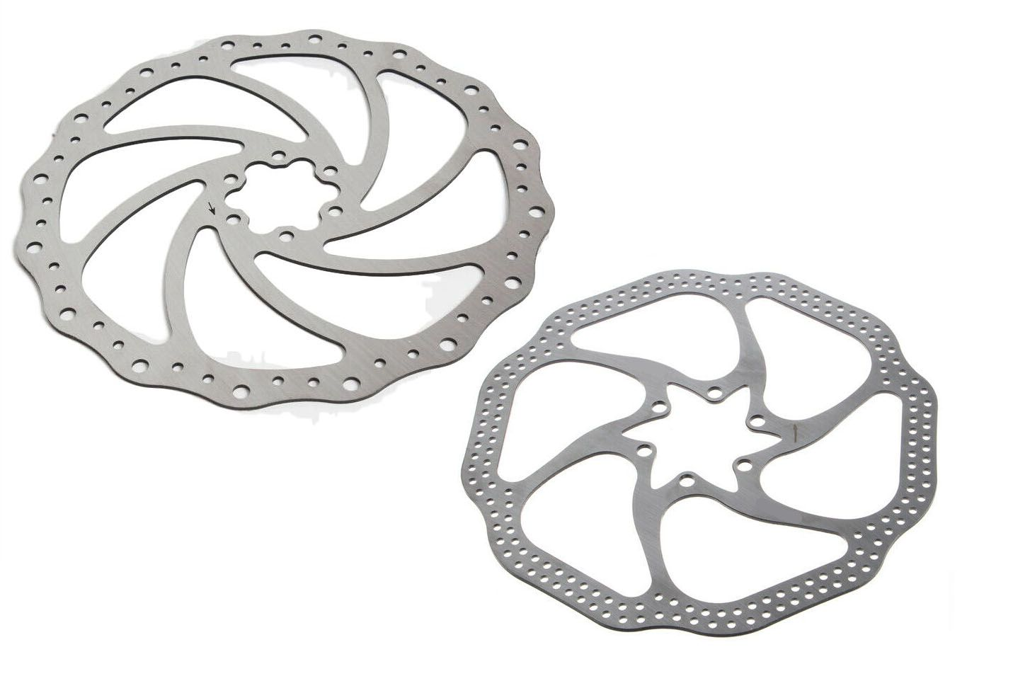 Par de Discos De Freio Rotor Absolute 180 e 160mm 6 Furos em Aço pra Bicicletas