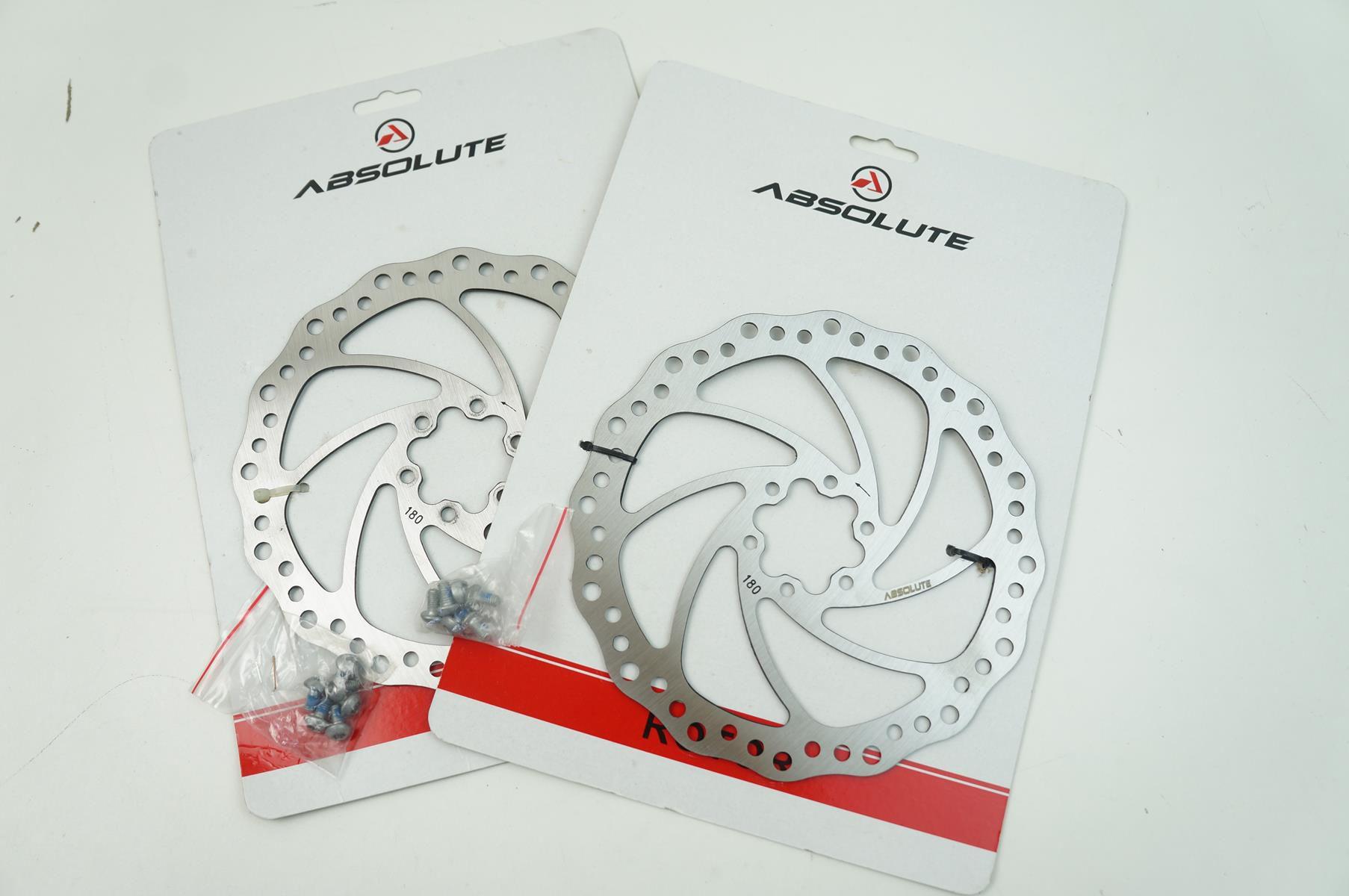 Par de Discos De Freio Rotor Absolute 180mm 6 Furos em Aço pra Bicicletas