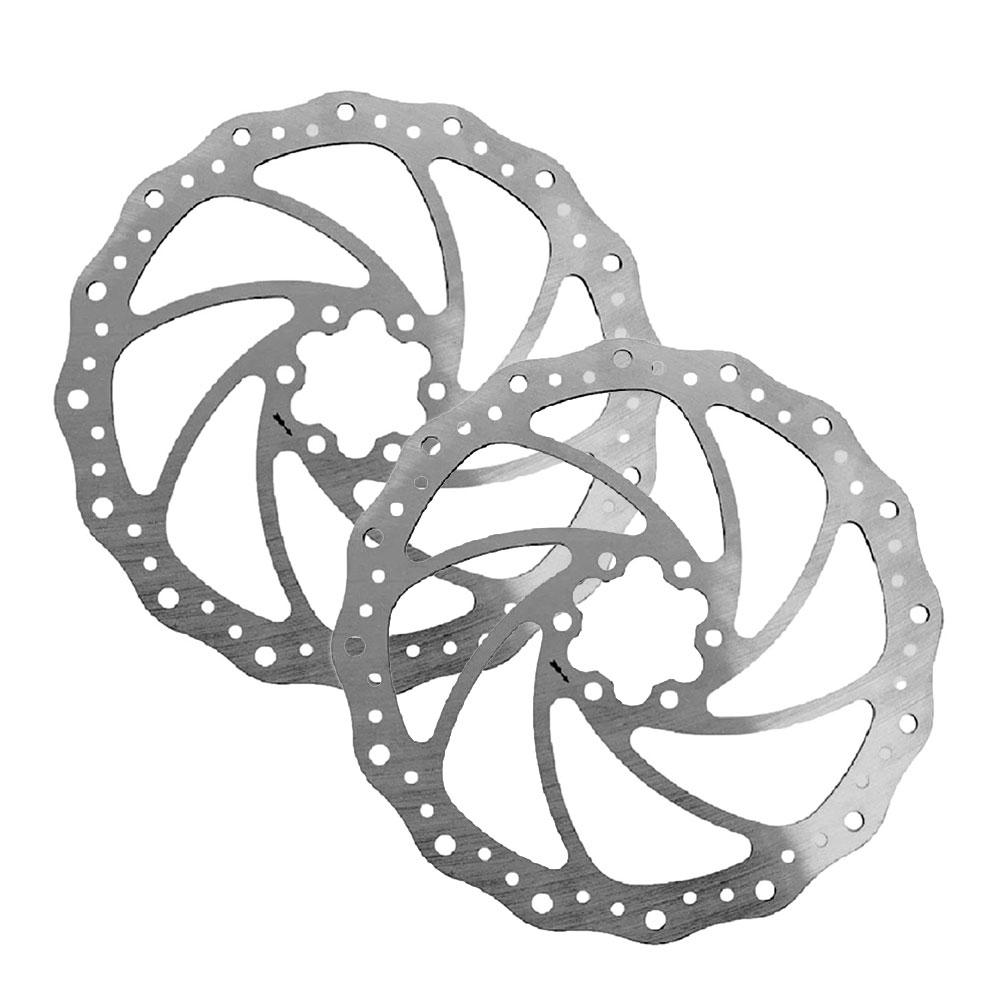 Par de Discos de Freio Rotor Alhonga 203mm 6 Furos em Aço Inox pra Bicicletas