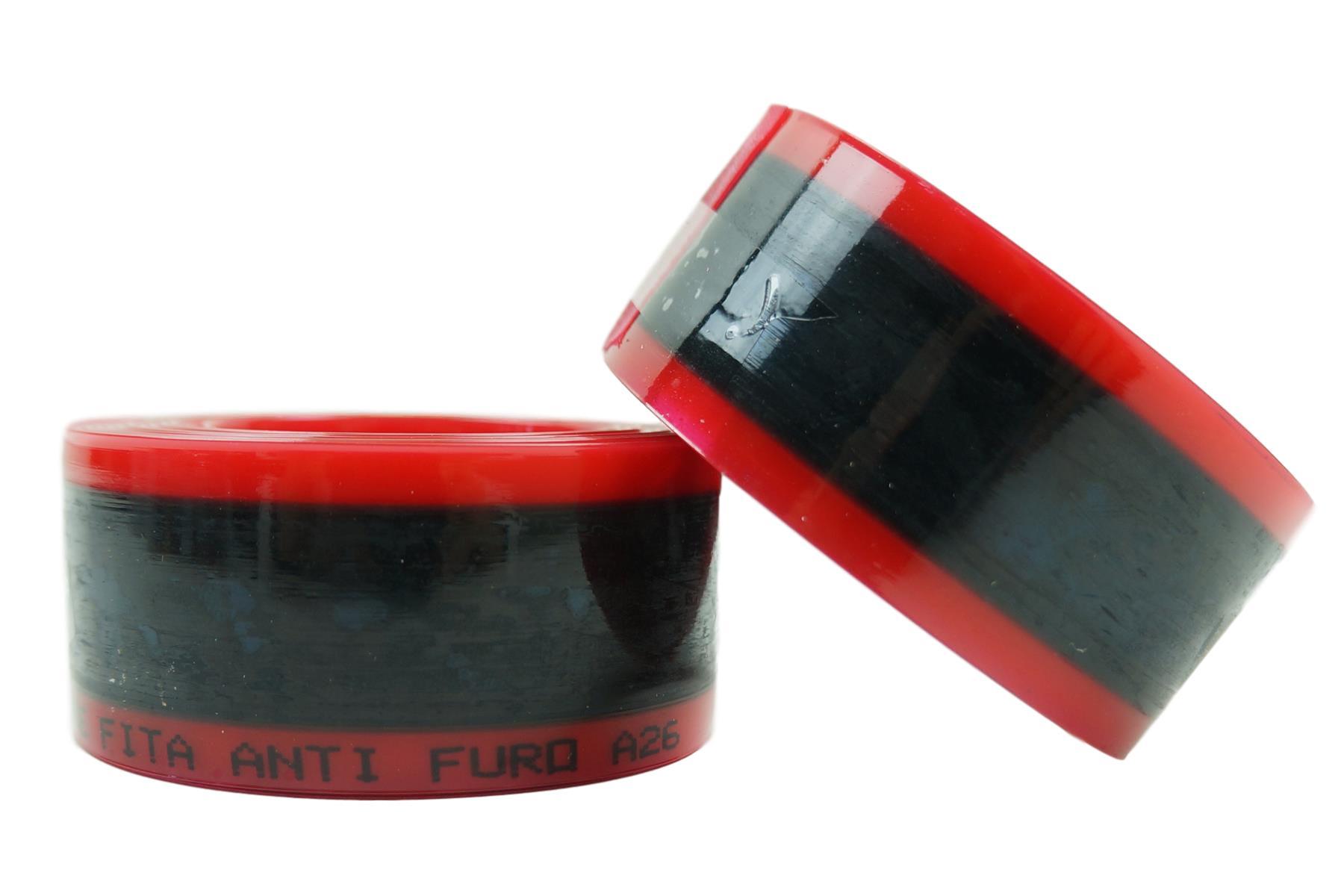 Par de Fitas Anti-furo Safe Tire Para Bicicleta MTB Aro 26 Cor Vermelha