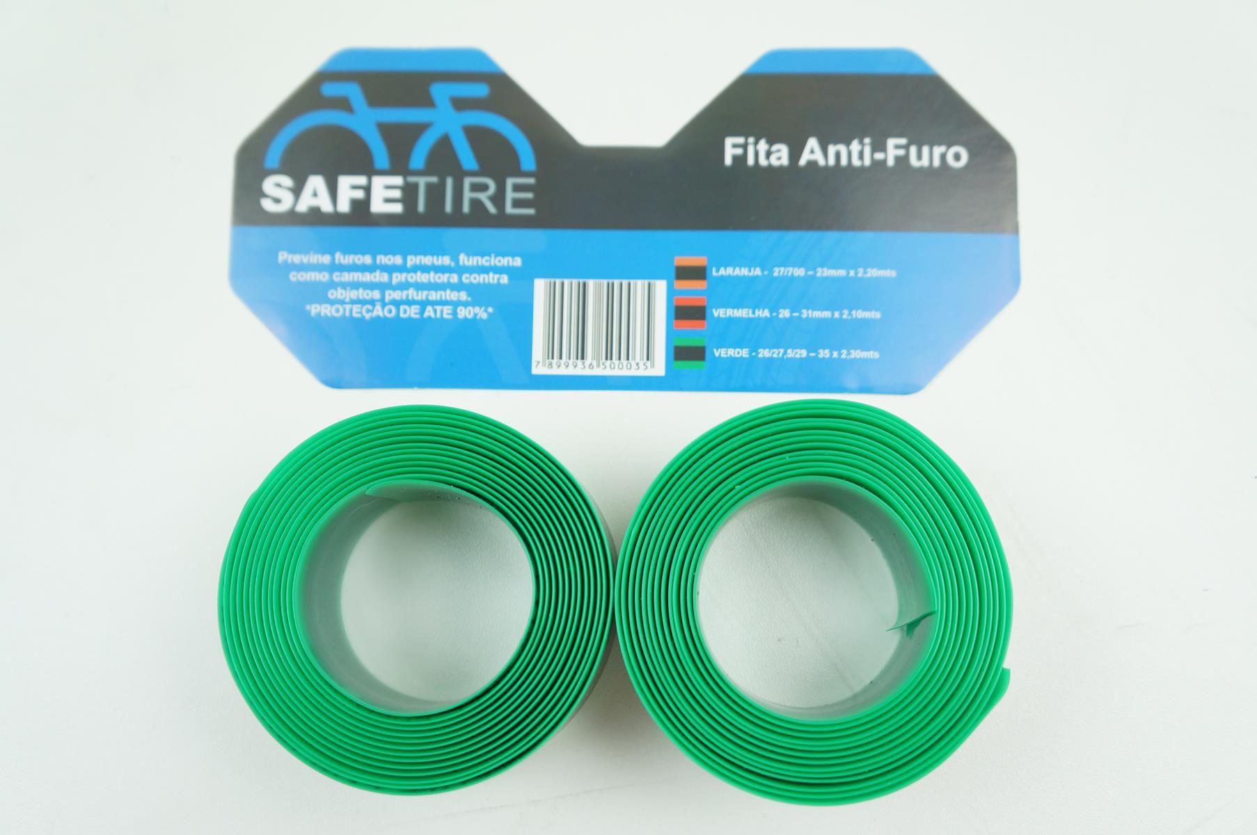 Par de Fitas Anti-furo Safe Tire Para Bicicleta MTB Aro 29 Cor Verde