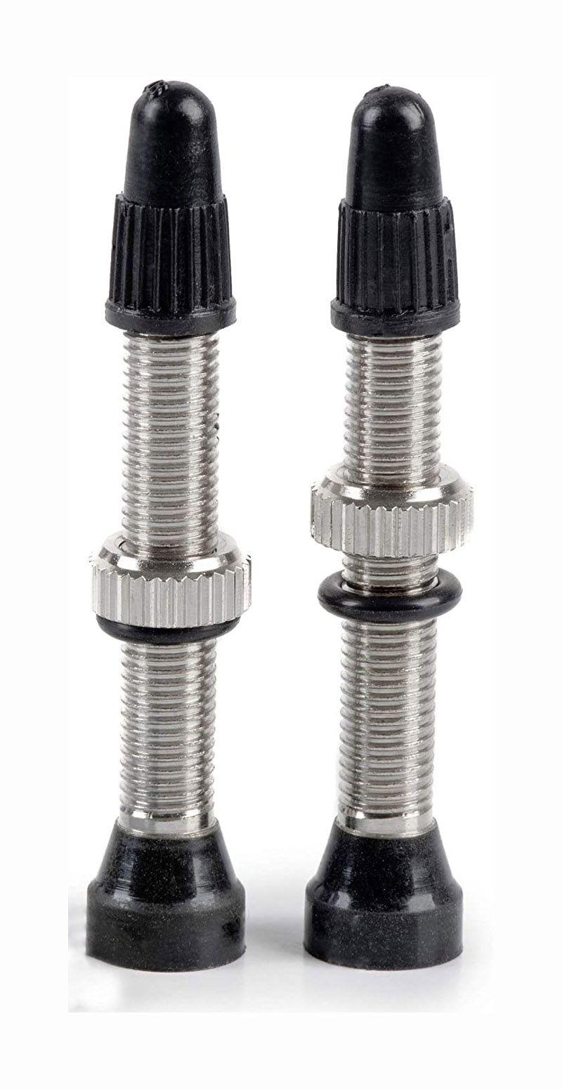 Par De Válvulas Bico Tubeless Prata em Aço 40mm Comprimento