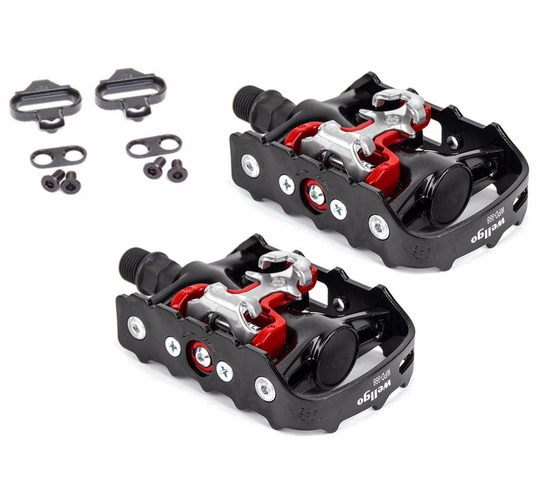 Pedal de Encaixe Clip Mountain-Bike Wellgo M-998 Com Plataforma E Encaixe Clip
