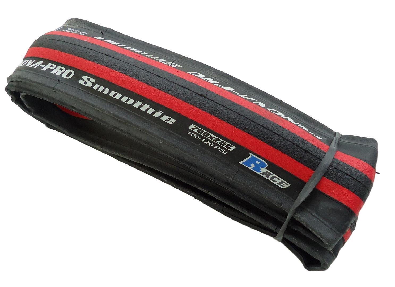 Pneu para Speed Innova Pro Smoothie 700x25 em Kevlar Road Preto com Faixa Vermelha