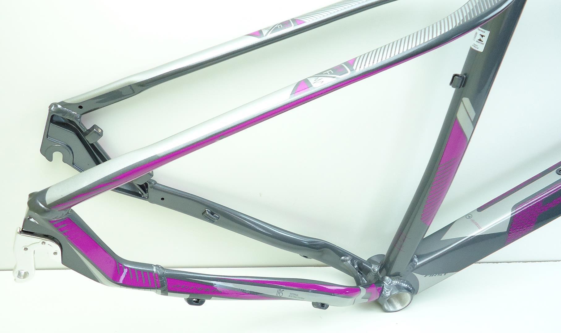 """Quadro 29 Bicicleta Mtb First Athymus em Aluminio 2018 Tamanho 17.5"""" Cinza com Lilás"""