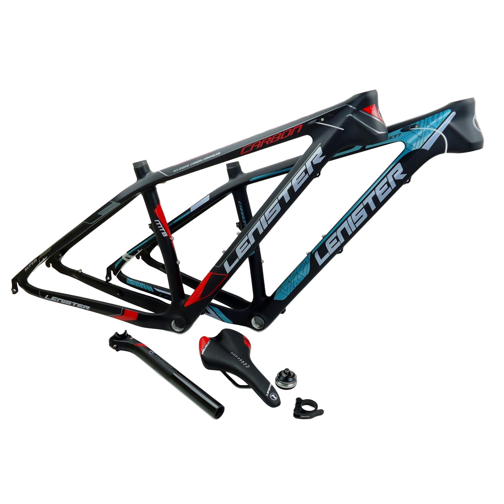 Quadro 29 Bicicleta MTB Lenister Carbono Tam 17 + Kit Selim Canote Caixa Direção