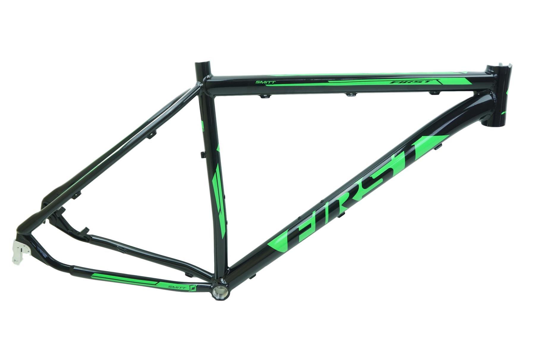 """Quadro Bicicleta MTB First Smitt Aro 29 em Aluminio Preto com Verde 21"""""""