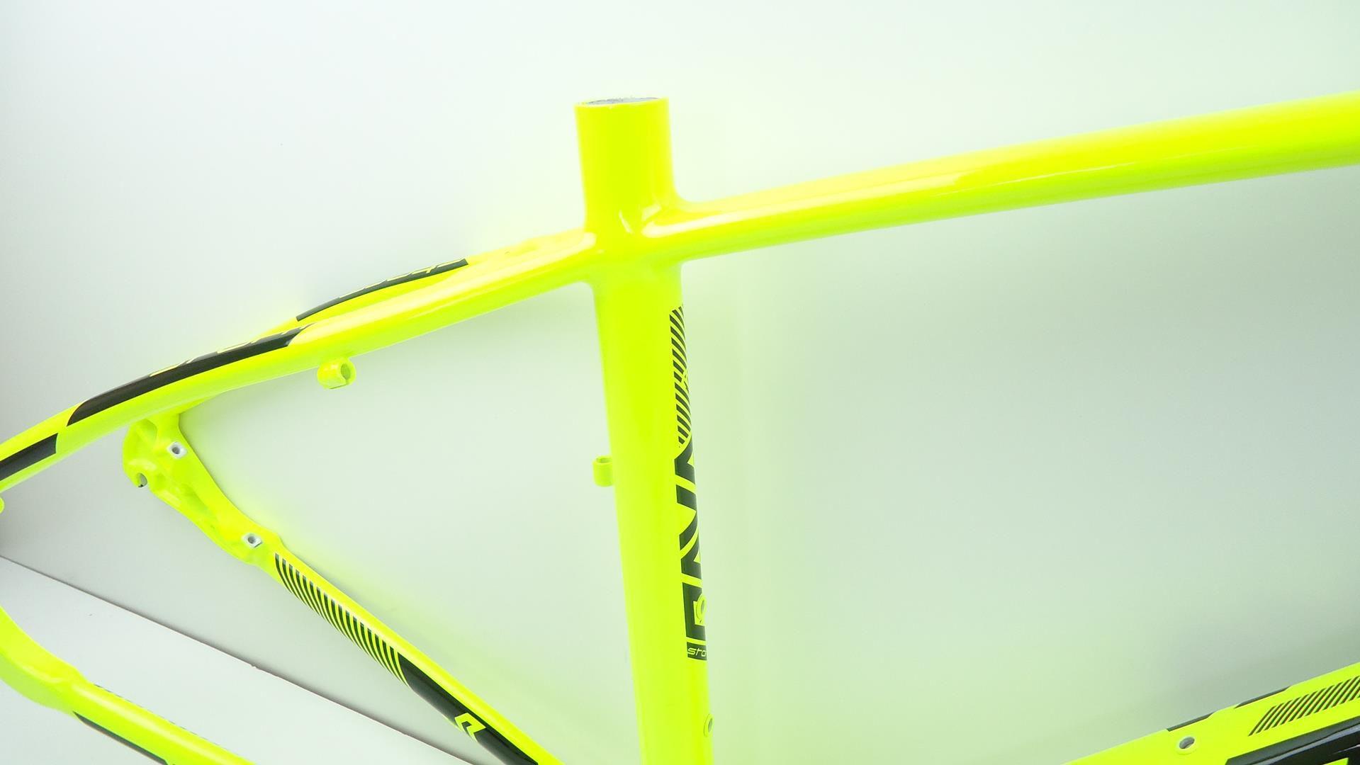 Quadro Bicicleta MTB Rava Storm Aro 29 Amarelo em Aluminio com Kit Guidão Mesa Canote