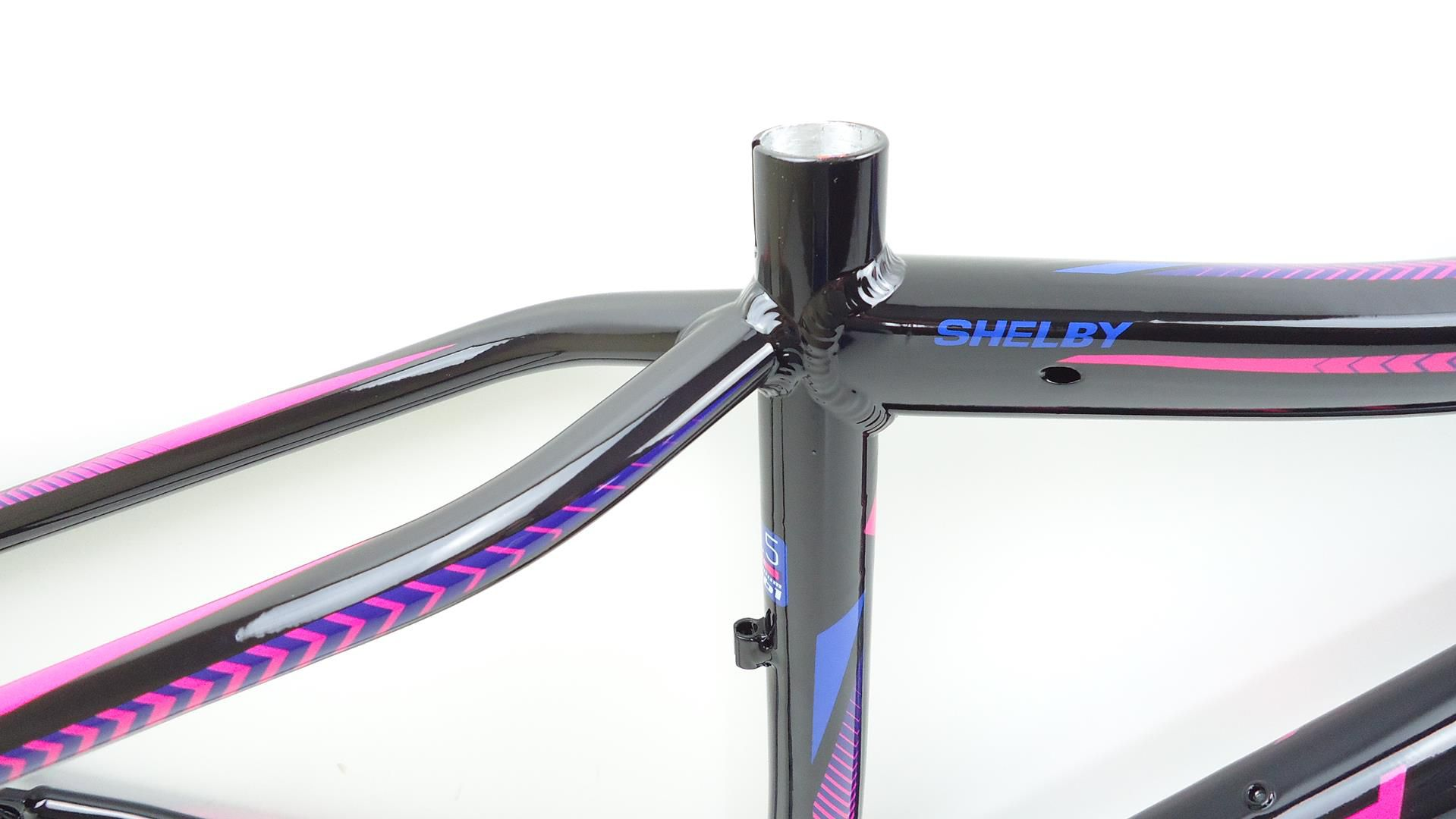 Quadro Mtb First Shelby Feminino Aro 29 Tam 15,5 Preto Rosa/Azul + Brinde