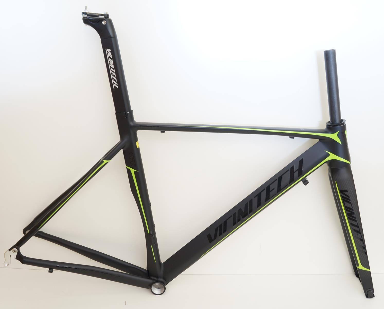 Quadro Speed Vicinitech Roubaix Preto com Verde em Aluminio Garfo Carbono