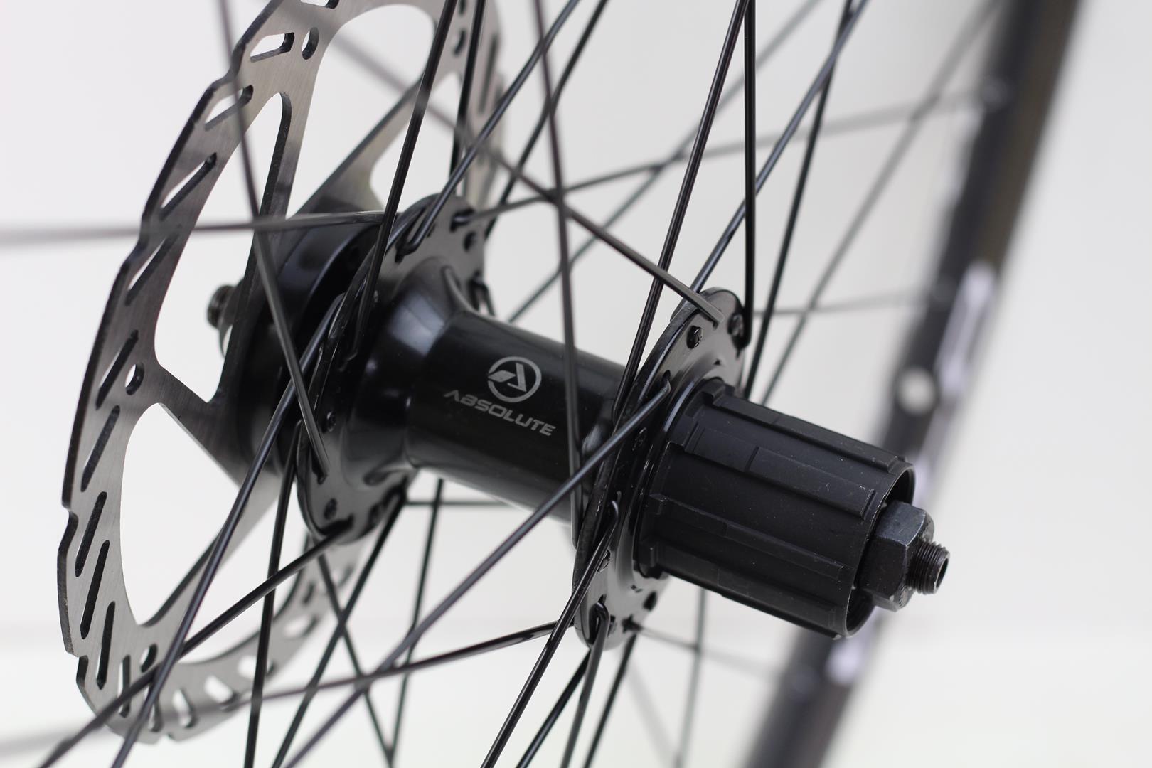 Rodas Bicicleta MTB Absolute Wild Disc Aro 29 Alumino Eixo 9 Preta com Cubo Preto + Discos