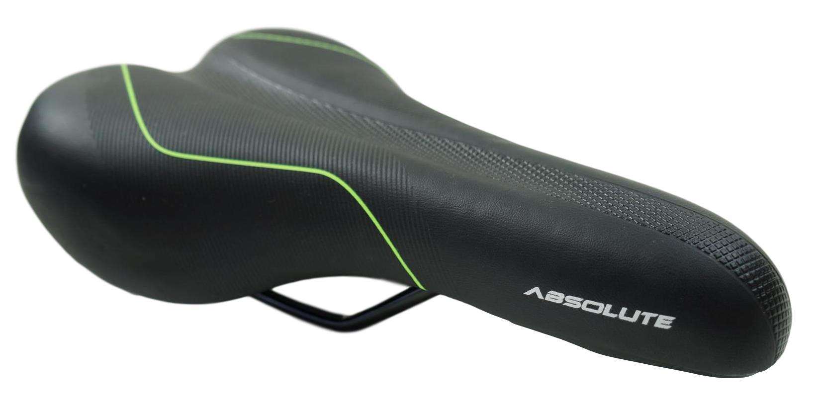 Selim Bicicleta Mountain-bike Absolute Preto com Verde 160mm Largura Super Confortável