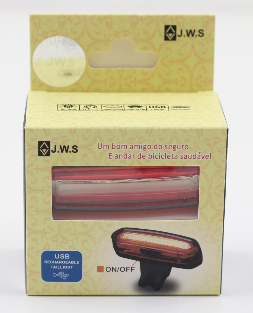 Sinalizador com Led 70 Lumens JWS WS-096 Recarregável USB Led Vermelho e Branco 6 Modos Super Forte