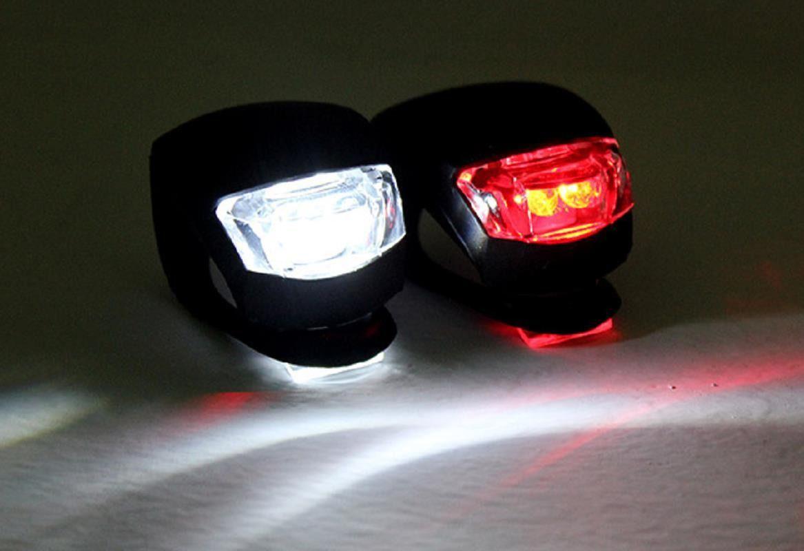 Sinalizador Dianteiro e Traseiro JWS para Bicicletas em Silicone Luz Noturna com 2 Leds Branco e Vermelho