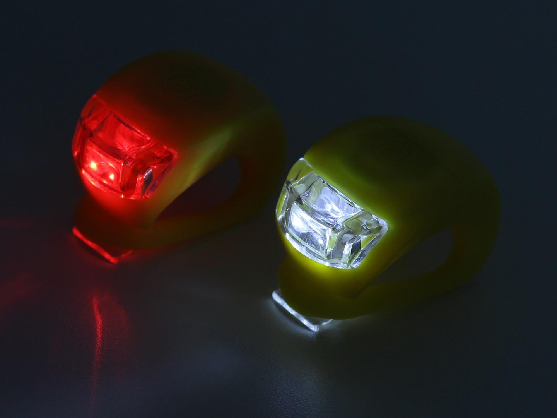 Sinalizador Dianteiro e Traseiro Vortex para Bicicletas em Silicone Luz Noturna com 2 Leds Branco e Vermelho
