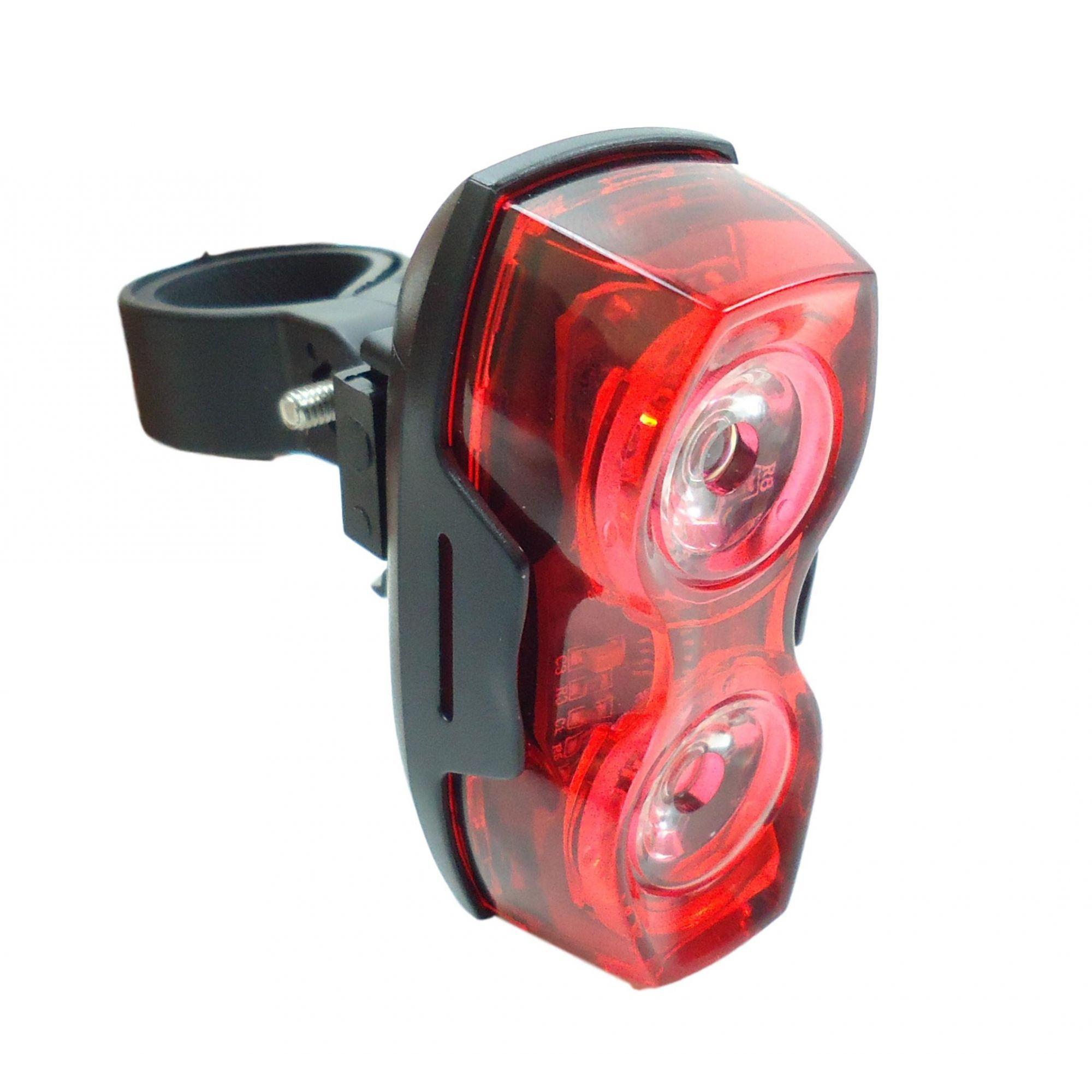 Sinalizador Traseiro Epic Line Vega 2 com 2 Leds Vermelho Modos Luz Noturna Alta Potência