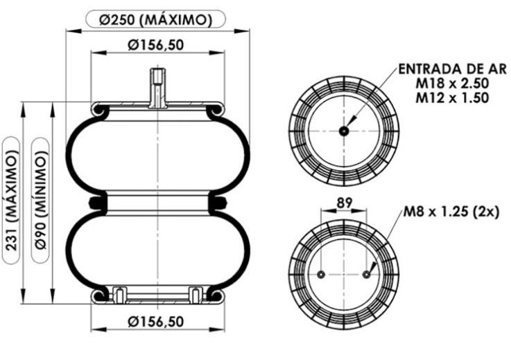 Fole Pneumático Suspensor  Eixo  Suspentech  ST 852  - TERRA DE ASFALTO ACESSÓRIOS