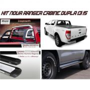 Kit ford ranger cd 2013-2015 - barra esportiva / estribo / capota