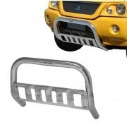 Para Choque Impulsão Cromado Com Chapa Protetora L200 Sport 2004 a 2007 / L200 Outdoor 2007 a 2012