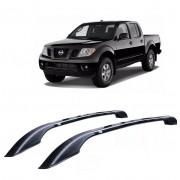 Longarina Decorativa Teto Alumínio Preta Nissan Frontier Sel 2008 em diante Não Fura Teto