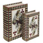 Livro Caixa Decorativo Book Box 2 Peças Rainha Baralho