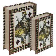 Livro Caixa Decorativo Book Box 2 Peças Rei Baralho