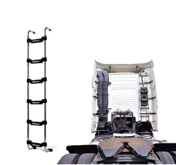 Escada Traseira 6 Degraus Cromada Volvo FH / NH para Res. Clim. Cab. Alta