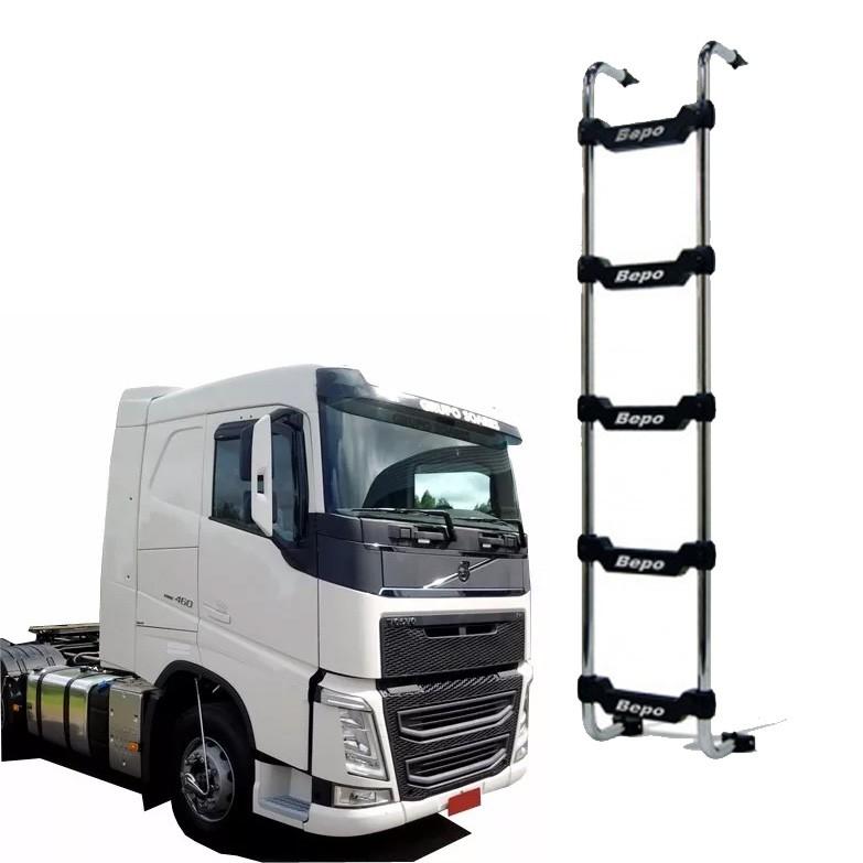 Escada Traseira 5 Degraus Cromada Sem Furar Cabine Volvo FH Cab. Baixa 2015