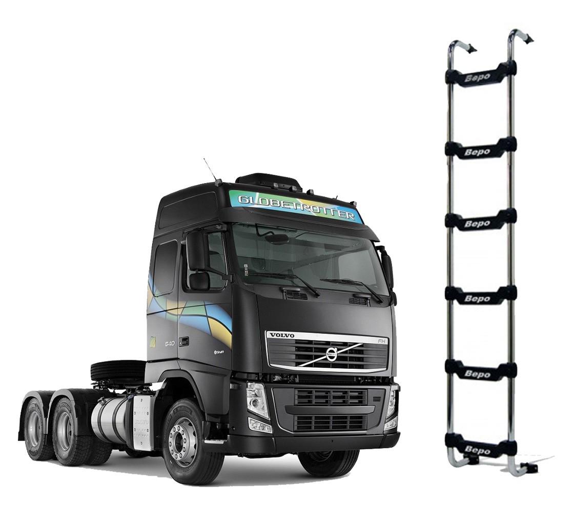 Escada Traseira 6 Degraus Cromada Sem Furar a Cabine Volvo Globetrotter 2015