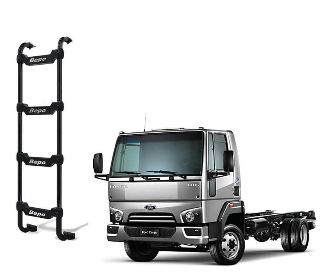 Escada Traseira 4 Degraus Preta Ford Cargo 2012 Cabine Baixa
