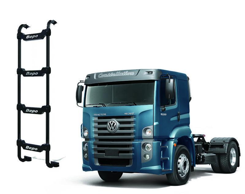 Escada Traseira 4 Degraus Preta VW Constellation Cabine Baixa